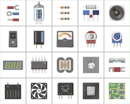 Eine Reihe von elektronischen Teilen und Komponenten.