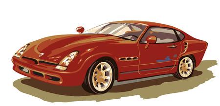 Isolated red car vector illustation on white background. Çizim
