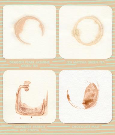 pearl tea: Coaster Rings 2: Beverage rings on coasters. Drinks include Dragon Pearl Jasmine Green Tea, IZU Matcha Green Tea, Raspberry Parfait Hot Cocoa, and Chocolate Malt. Stock Photo