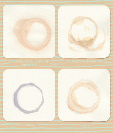 gold ring: Coaster Rings 4: Beverage rings on coasters. Drinks include Dragon Pearl Jasmine Green Tea, IZU Matcha Green Tea, Chianti.