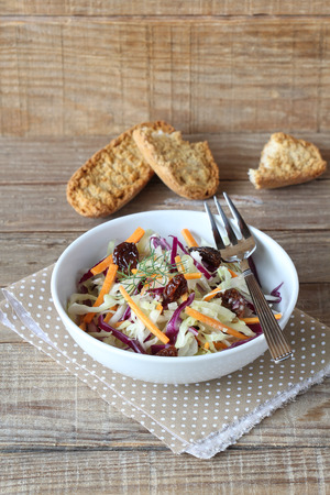 sultanas: Red and white cabbage salad with sultanas and mayonnaise