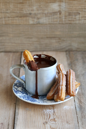 churros: Hot chocolate sauce with churros