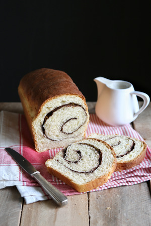 cinnamon swirl: Homemade cinnamon swirl bread Stock Photo