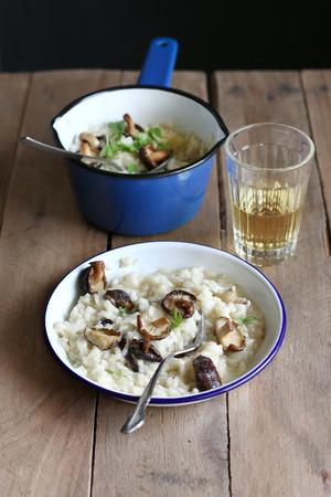 Homemade risotto with shiitake mushrooms photo
