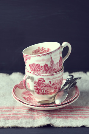teacups: Still life with vintage teacups and spoonsvintage effect added