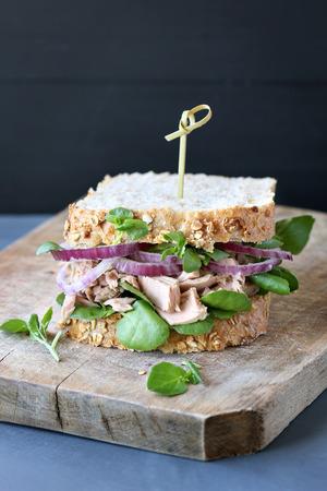 watercress: Tuna sandwich with red onion and watercress