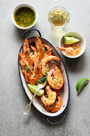 gambas: Grilled prawn with  garlic salsa sauce