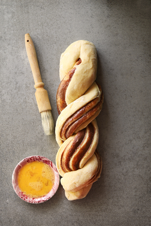 nutella: Braided nutella bread dough before baking.Top view