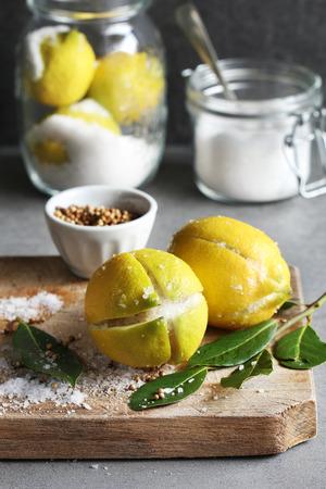 Preparing preserved lemons Stock Photo