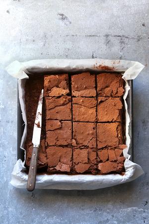 chocolate treats: Freshly baked chocolate brownie.Top view Stock Photo