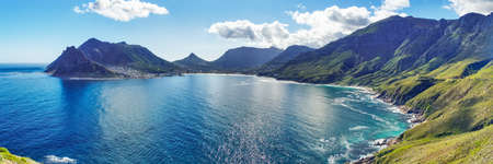 Panoramic of Hout Bay in Cape Town, South Africa. As viewed from Chapman's Peak.
