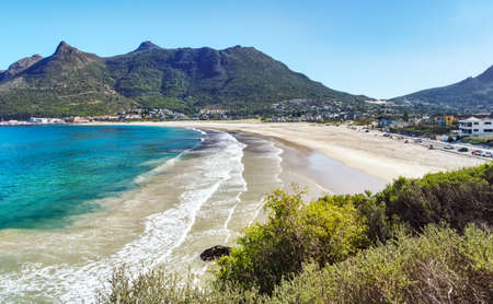 Aerial view of the beach in Hout Bay, Cape Town, South Africa. Stock Photo
