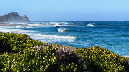 View of the Atlantic ocean and the Cape of Good Hope, Cape Point, South Africa.