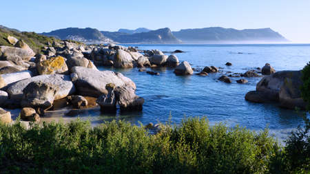 Elevated, panoramic view of Boulders Beach in Simon's Town, Cape Town, South Africa.