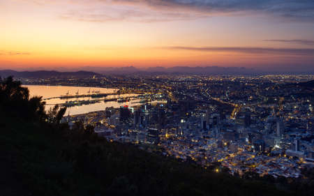 Low light aerial view of sunrise over the city of Cape Town in winter. South Africa.