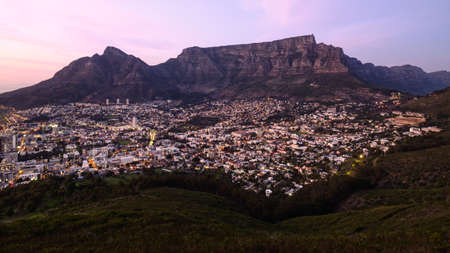 Twilight, aerial view of Table Mountain and the Cape Town City Bowl. South Africa. Stock Photo