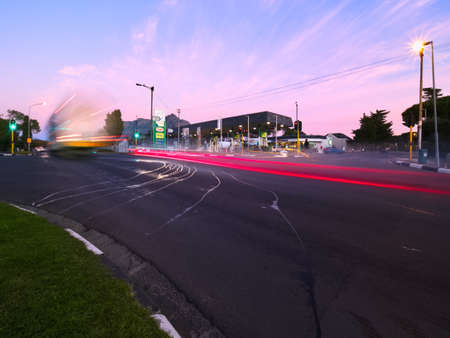 Long exposure of morning traffic in Pinelands Garden City in Cape Town, South Africa. 7 July 2021.