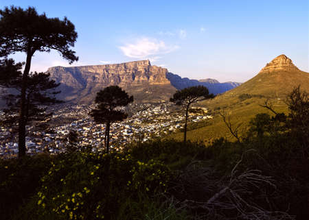 Table Mountain and Lions Head as viewed from Signal Hill. Cape Town, South Africa.