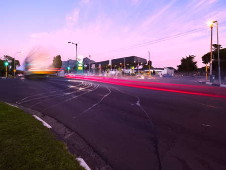 Long exposure with motion blur of suburban morning traffic.