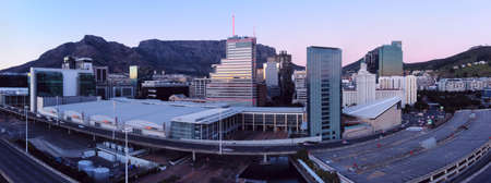 Aerial dawn drone panoramic cityscape of the skyline of downtown Cape Town, South Africa. 14 August 2021.
