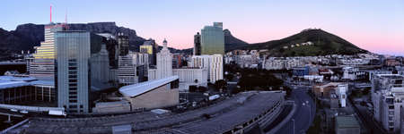 Aerial dawn drone panoramic skyline of downtown Cape Town, South Africa. Editorial
