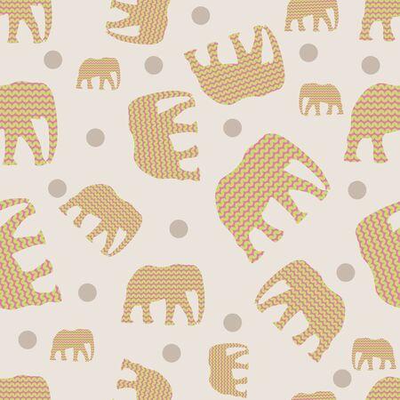 Colorful elephants seamless pattern print background