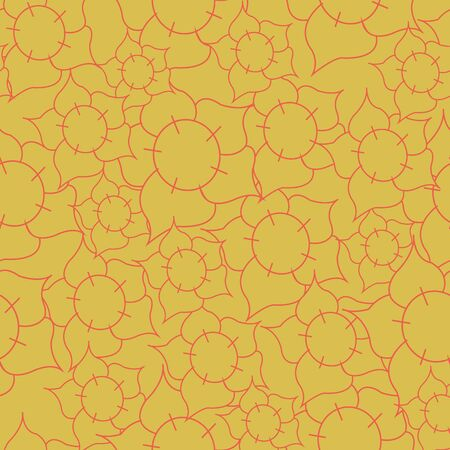 Yellow flower mix seamless pattern print