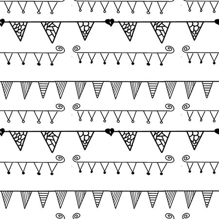 Black and White flag line seamless repeat pattern 일러스트