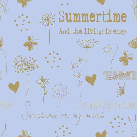Golden wild flower repeat pattern line art print
