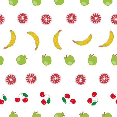 Lots of fruits handdraw vector repeat pattern  イラスト・ベクター素材
