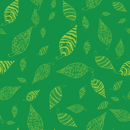 Hand draw green leafs repeat pattern print 向量圖像