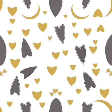 Gold, grey and white hearts and moon repeat Ilustração