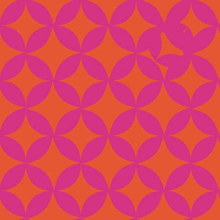 Fuchsia orange retro figure repeat pattern print 向量圖像