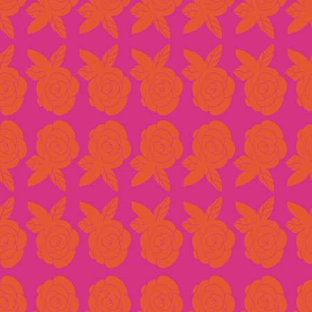 Orange and fuchsia out rose repeat pattern print