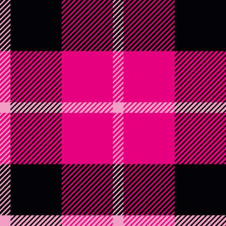 Roze, zwart en wit geruite tartan vector herhaal