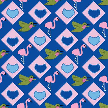 Kawaii Hand drawn hummingbirds and flamingos Vektorgrafik