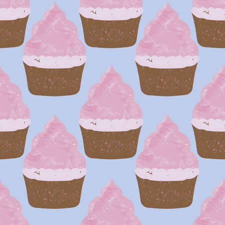 colorful cupcakes and cadeaus on dots background