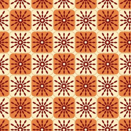 Terra retro twirls seamless repeat pattern print