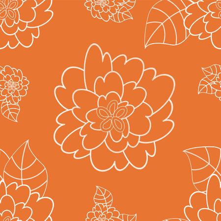 Orange vintage flower seamless repeat pattern
