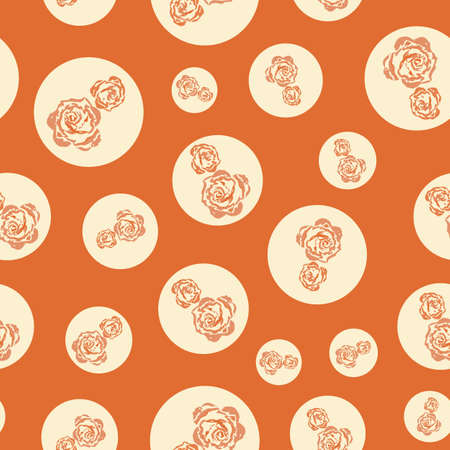 Brique colored retro flower in dot repeat pattern