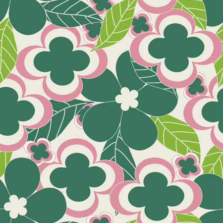 Bright color vintage flowers seamless repeat