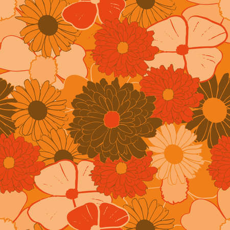 Yellow, orange and brown vintage flowers seamless