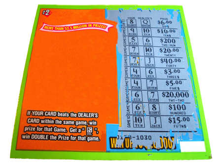 Scratch off lottery ticket (U.S.) with room for copy.                                Stock Photo