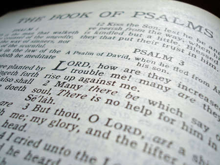 king james: Close up of the title page of the Book of Psalms in the King James Version Bible.