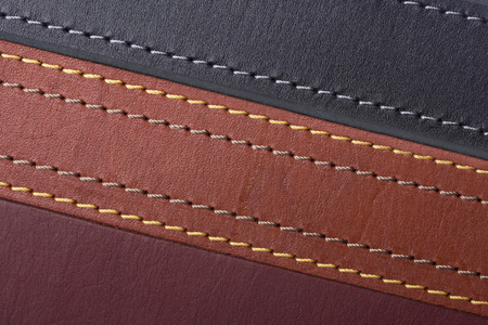 The texture is different color leather straps Banco de Imagens
