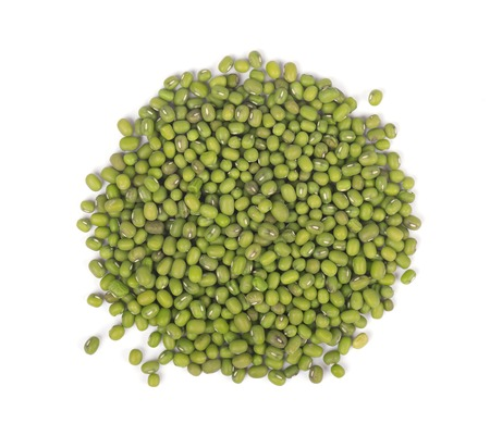 Mung beans isolated on white background. Vigna radiata. Top view