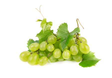 Green grape with leaves isolated on white background Stock Photo