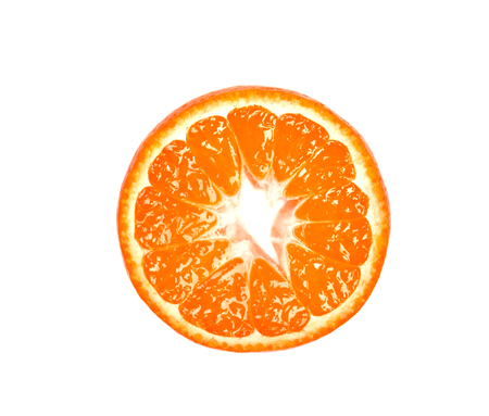 Slice of mandarin isolated on white background. Citrus fruits. Pieces of fresh mandarin, with clipping path. Top view
