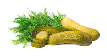 Pickled cucumbers with dill isolated on white background. Marinated pickled cucumber isolated. Closeup. Banco de Imagens