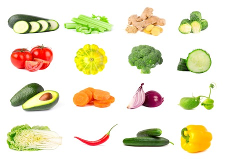 Collection of fresh vegetables isolated on white background. Collage of juicy and ripe vegetables isolated on white background. Close-up.